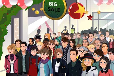 Une illustration de vecteur de magasinage des Fêtes vente scène