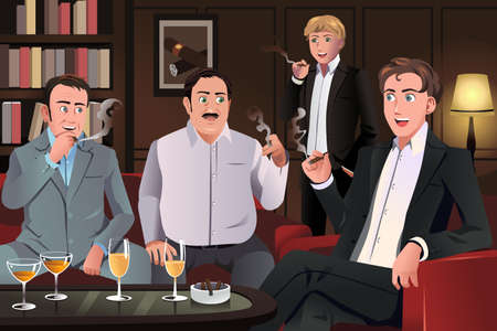 cigars: A vector illustration of people in a cigar lounge