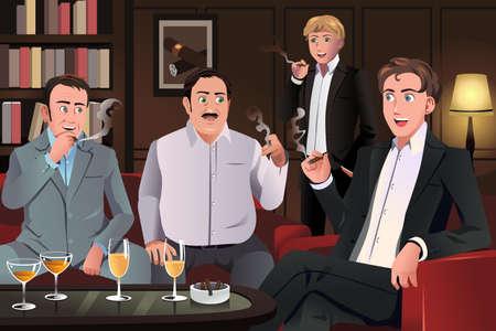 joven fumando: Una ilustración vectorial de personas en un salón de fumadores