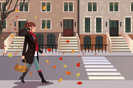 townhomes: A vector illustration of stylish girl walking in New York city