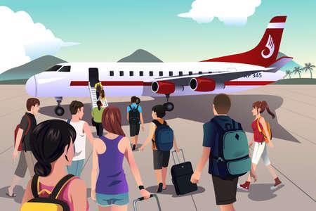 Een vector illustratie van de toeristen aan boord van een vliegtuig