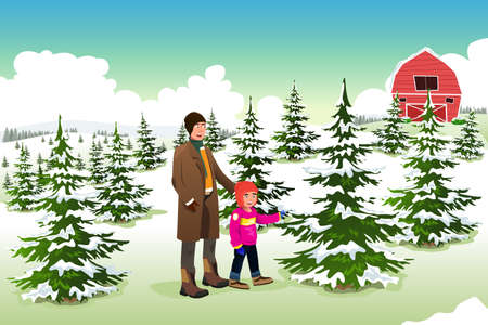 holiday shopping: A vector illustration of father and son shopping for a Christmas tree together Illustration