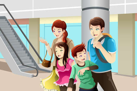 A vector illustration of family going to shopping together Vector