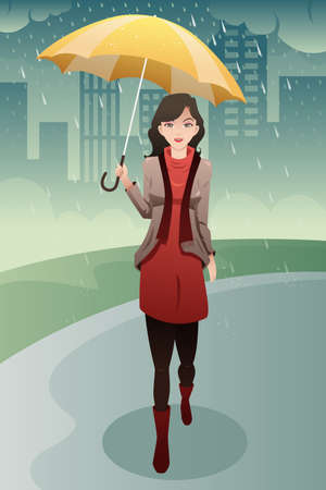 stylish woman: A vector illustration of stylish woman walking in the rain carrying an umbrella