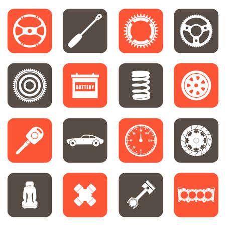Een vector illustratie van auto-onderdelen gerelateerde pictogrammen