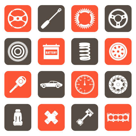 A vector illustration of automobile parts related icons