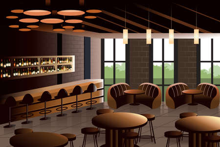 modern interior: illustration of restaurant interior with industrial look