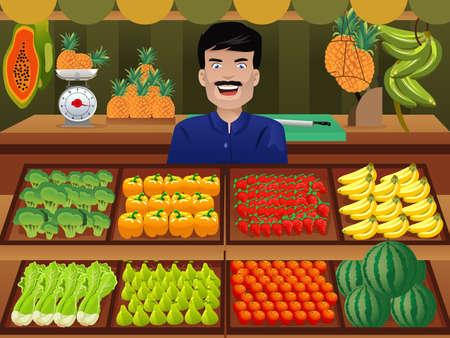 vendedor: ilustración de vendedor de frutas en un mercado de agricultores Vectores