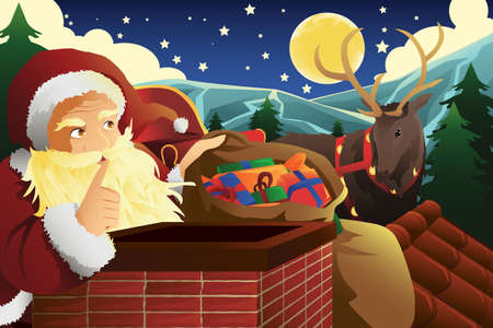 saint nick: illustration of Santa Claus with sleigh full of Christmas presents near a chimney Illustration