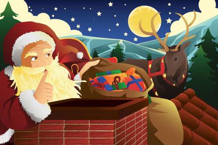 saint nick: illustrazione di Babbo Natale con la slitta piena di regali di Natale nei pressi di un camino Vettoriali
