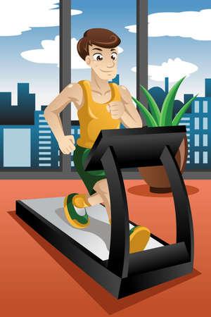 illustration of man running on the treadmill Vector