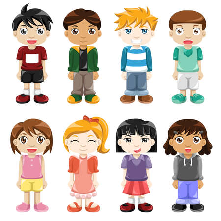illustration of different kids expressions Vector