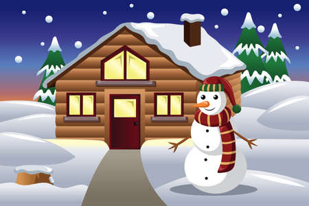 illustration of snowman in front of a house Illustration
