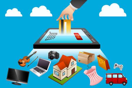 illustration of internet shopping concept
