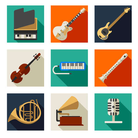 flauta: ilustración de instrumentos musicales conjuntos de iconos
