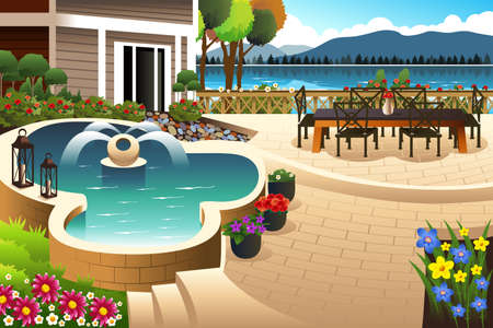 lawn chair: illustration of beautiful backyard garden