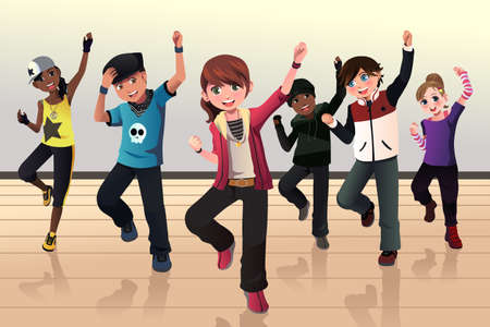 hip hop dancing: illustration of kids in hip hop dance class