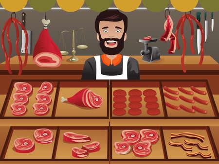 illustrator van vlees verkoper in een landbouwer markt Stock Illustratie