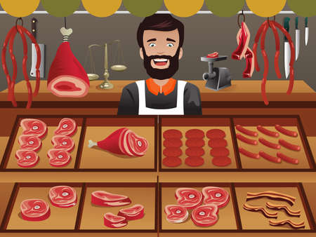 Ilustrador de vendedor de carne en un mercado de agricultores Foto de archivo - 32519340