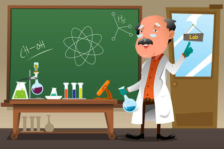 illustration of chemistry professor working at the lab Vettoriali