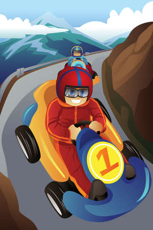 illustration of kids racing in a go-kart like car in the mountain road
