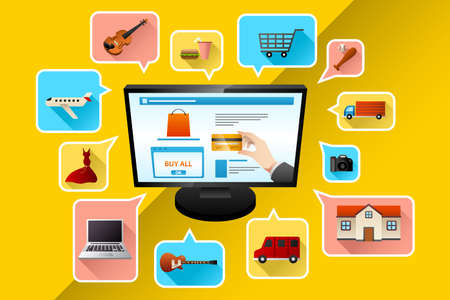 illustration of internet shopping concept
