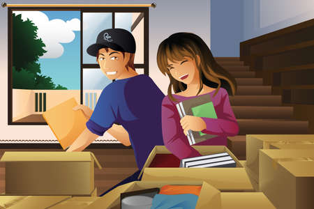 unpacking: illustration of young couple unpacking boxes after moving to a new house