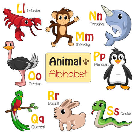 A illustration of alphabet animals from L to S