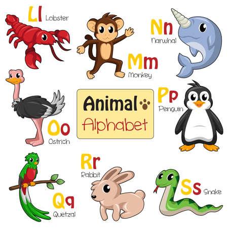 alphabet animaux: Une illustration des animaux de l'alphabet de L � S