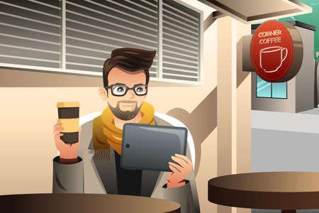 hombre tomando cafe: Una ilustraci�n de moda joven que usa la tableta en un caf�