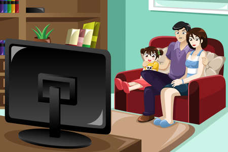 A illustration of happy family watching television together Vector