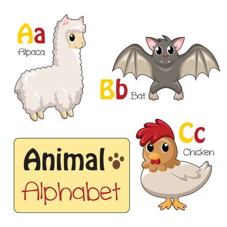 english letters: A illustration of alphabet animals from A to C