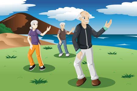 태극권 야외 운동을하는 노인들의 그림 일러스트