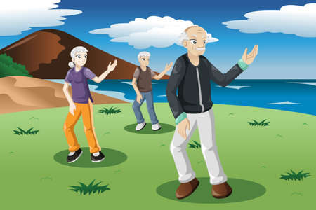 tai chi: A illustration of senior people exercising tai-chi outdoor Illustration