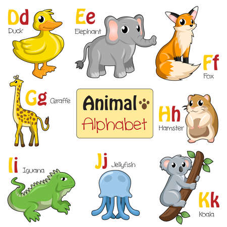 english letters: A illustration of alphabet animals from D to K Illustration