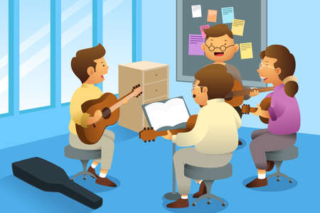 man playing guitar: A vector illustration of adults in a guitar class