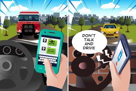 """manejando: Una ilustración vectorial de concepto de """"no hace texto y conducir"""" y """"no hables y unidad"""""""