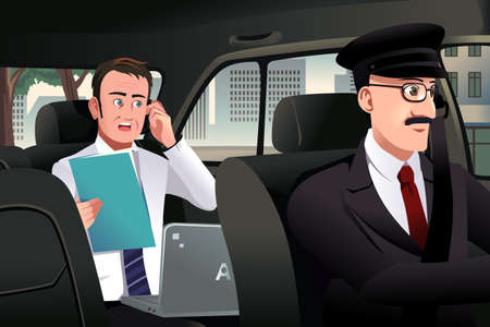 chauffeur: A vector illustration of businessman talking on the phone sitting in a car driven by a chauffeur Illustration