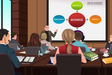 A vector illustration of Business people in a seminar