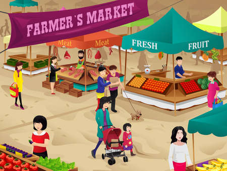 kid shopping: A vector illustration of farmers market scene