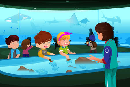 A vector illustration of kids going on a school field trip to aquarium Illustration