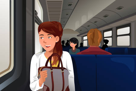 A vector illustration of  people traveling in train