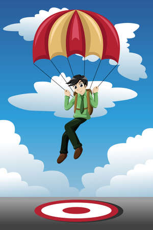 A vector illustration of businessman with a parachute landing on a target Vector