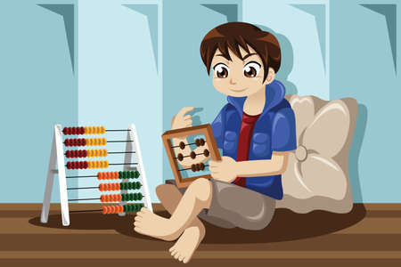 A vector illustration of kid playing with his abacus Vector