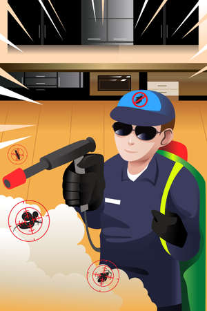 exterminator: A vector illustration exterminator man killing insects and rodents