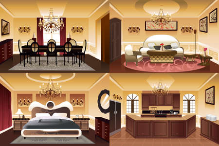 A vector illustration of rooms inside the house in similar style and color scheme