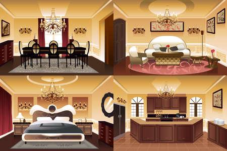 Een vector illustratie van de kamers in het huis in dezelfde stijl en kleurstelling