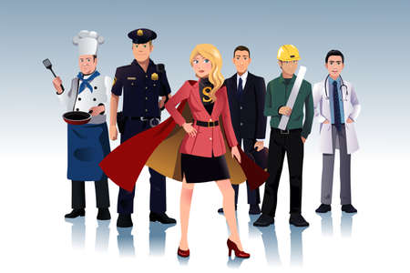 A vector illustration of super businesswoman standing in front of men