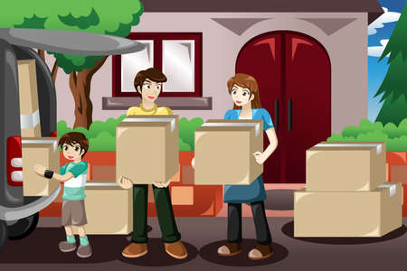 A vector illustration of happy family moving house and taking boxes into a car