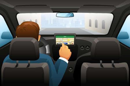 Een vector illustratie van het rijden man met behulp van GPS om een locatie te vinden